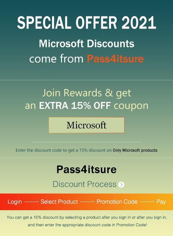 Pass4itsure Microsoft exam discount code